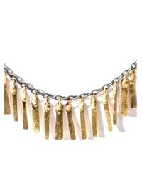 Sia Taylor - Metallic Silver and Gold Fringe Necklace - Lyst