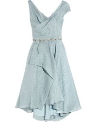 Lela Rose | Blue Embellished Woven Organza Dress | Lyst