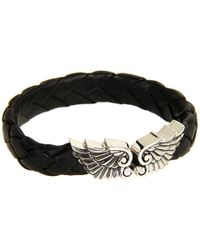 King Baby Studio | Small Leather Braided Bracelet with Wing Clasp | Lyst