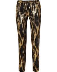 Michael Kors | Gold Samantha Metallic Ikat Jacquard Pants | Lyst