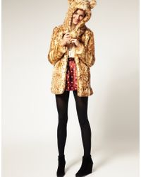 ASOS Collection - Brown Asos Petite Faux Fur Leopard Hooded Coat with Ears - Lyst