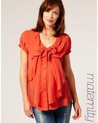 ASOS Collection - Orange Asos Maternity Triple Collar Waterfall Blouse - Lyst