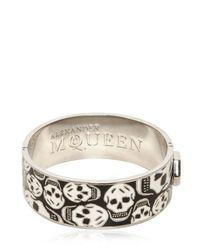 Alexander McQueen - Black Enamel and Brass Skull Bracelet - Lyst