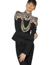 Alexander McQueen | Black Jewelled Leaf Viscose Crepe Jacket | Lyst