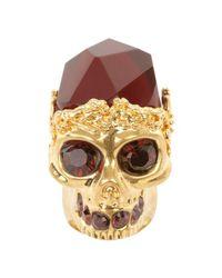 Alexander McQueen - Metallic Skull Cocktail Ring - Lyst