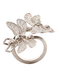 Alexander McQueen | Metallic Silver Twin Dragonfly Skull Ring | Lyst