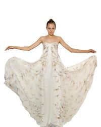 Alexander McQueen | Beige Dragon Fly Print Silk Chiffon Long Dress | Lyst