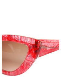 Charlotte Olympia - Red Cat Eye Feather Print Acetate Sunglasses - Lyst