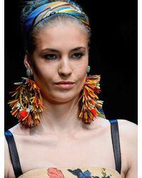 Dolce & Gabbana - Multicolor Pom Pom Raffia Earrings - Lyst