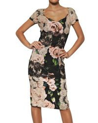 Dolce & Gabbana | Green Cross-back Floral-print Silk Dress | Lyst