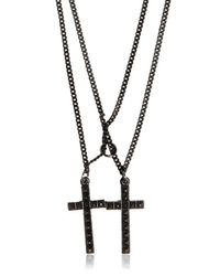DSquared² | Black Double Cross Varnished Brass Necklace for Men | Lyst