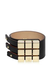 DSquared² - Black Leather and Brass Bracelet - Lyst