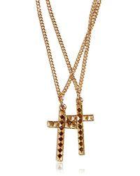 DSquared² - Metallic Cross Pendant Brass Necklace for Men - Lyst