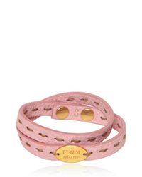 Fendi | Pink Selleria Leather Double Bracelet | Lyst