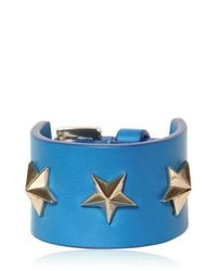 Givenchy - Blue Triple Stars Leather Cuff Bracelet for Men - Lyst