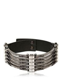 Lanvin | Black Swarovski and Leather Choker Necklace | Lyst