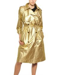 Lanvin | Metallic Washed Laminated Cotton Canvas Trench | Lyst