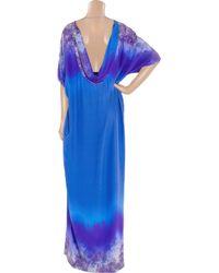 Matthew Williamson - Blue Belted Kimono-style Printed Silk Gown - Lyst