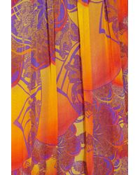 Matthew Williamson - Orange Printed Silkchiffon Dress - Lyst