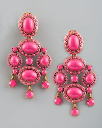 Oscar de la Renta | Pink Cabochon Drop Clip Earrings | Lyst