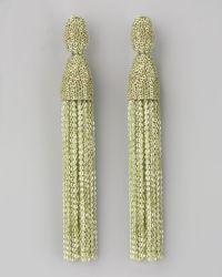 Oscar de la Renta | Green Long Chain Tassel Earrings | Lyst