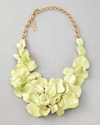 Oscar de la Renta | Metallic Large Flower Collar Necklace  | Lyst