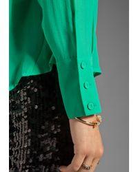 BCBGMAXAZRIA | Green Button Down Pocket Blouse | Lyst