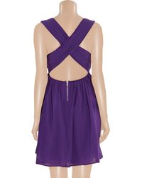 Alice + Olivia - Purple Caprice Pleated Cotton-blend Dress - Lyst