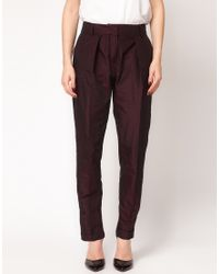 ASOS Collection | Purple Asos Satin Peg Trousers with Front Pleat | Lyst