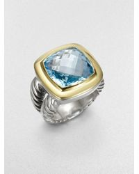 David Yurman | Blue Topaz Sterling Silver 14k Yellow Gold Ring | Lyst