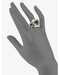 David Yurman - Blue Topaz Sterling Silver 14k Yellow Gold Ring - Lyst