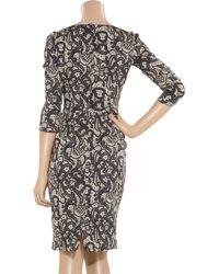 Dolce & Gabbana - Gray Lace-print Stretch-silk Pencil Dress - Lyst