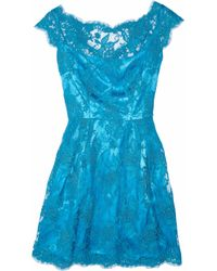 Issa | Blue Silk-satin and Lace Dress | Lyst