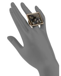 Kenneth Jay Lane | Metallic Pyramid Ring | Lyst