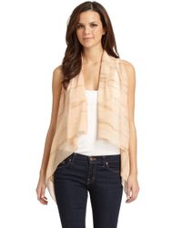 Maggie Ward | Natural Leather Silk Chiffon Vestbeige | Lyst