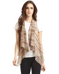 Maggie Ward | Leather and Silk Chiffon Vestbrown | Lyst
