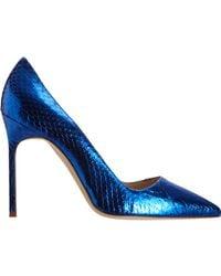 Manolo Blahnik   Blue Metallic Stamped Bb   Lyst