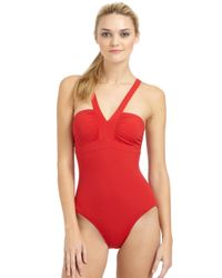 Spanx - Red One-Piece Deep V Swimsuit - Lyst