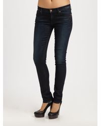 7 For All Mankind - Blue Roxanne Slim Fit Mid Rise Jean - Lyst
