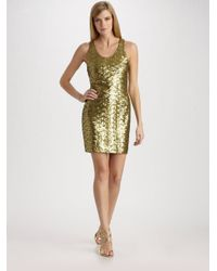 Alice + Olivia | Metallic Gold Sequin Tank Dress | Lyst
