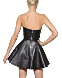 Balmain - Black Quilted Nappa Leather Strapless Dress - Lyst