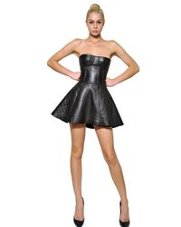 Balmain | Black Quilted Nappa Leather Strapless Dress | Lyst