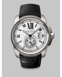 Cartier - Black Calibre De Stainless Steel & Alligator Strap Watch - Lyst