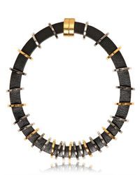 Fendi | Black Leather Brass Details Necklace | Lyst