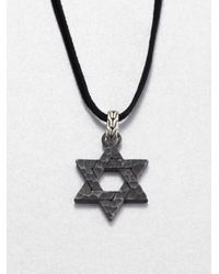 John Hardy | Black Bronze and Sterling Silver Star Of David Necklace for Men | Lyst