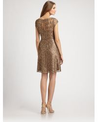 Kay Unger | Gold Sequined Lace Dress | Lyst