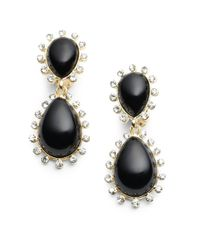 Kenneth Jay Lane | Black Enamel Rhinestone Teardrop Earrings | Lyst