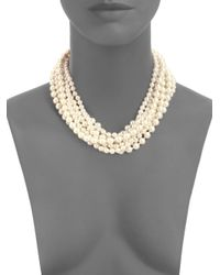 Kenneth Jay Lane | Natural Faux Pearl Swarovski Necklace | Lyst