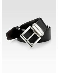 Prada - Black Calfskin Leather Belt for Men - Lyst