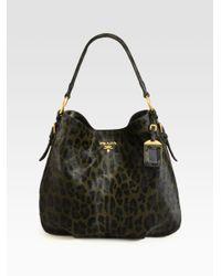 Prada | Black Cavallino Leopard Print Hair Calf Hobo | Lyst
